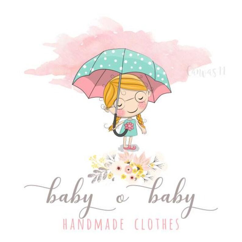 Premade Logo Fille Avec Parapluie Bebe Enfant Vetements