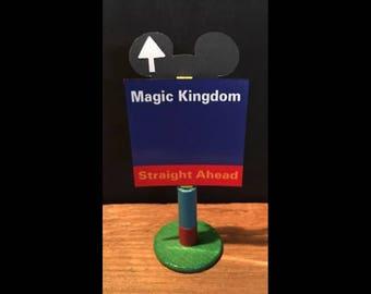 handmade Disney inspired road sign Magic Kingdom