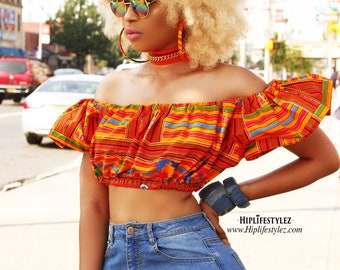 African pring Off the shoulder Crop top witb earrings & choker colorful kente