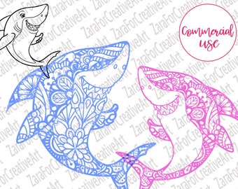7947085d8 Shark Zentangle mandala svg baby shark svg Digital download cute Shark  Clipart Printable Cutting File for Silhouette cricut Iron on transfer
