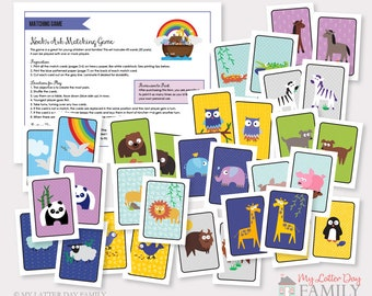 noahs ark memory matching game digital instant download to print
