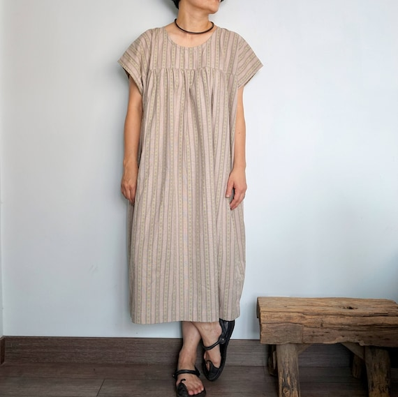Damen Boho Streifen Kaftan Taschen Baumwolle Leinen Locker Langes Kleid Tunika