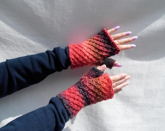 Knitted fingerless gloves, red, orange, beige, grey,  multicoloured, lava striped wristwarmer with thumb, 100% wool, feltable, cosy and warm