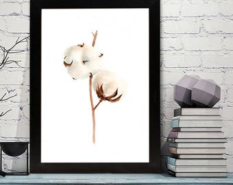 Print of Cotton bolls Watercolor Painting, Flowers Abstract Brown Beige, Wall Art Print, botanical painting, modern decor
