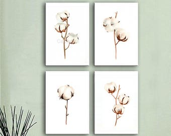 Set of 4 COTTON bolls Watercolor Painting, Flowers Abstract Brown Beige, Shabby Chic Wall Art Giclee Print, botanical painting