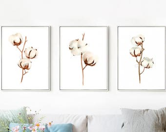 Set of 3 COTTON bolls Watercolor Painting, Flowers Abstract Brown Beige, Shabby Chic Wall Art Giclee Print, botanical painting
