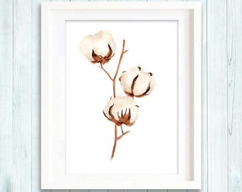 Print of Cotton Bolls Watercolor Painting, Flowers Abstract Brown Beige, Wall Art Giclee Print, botanical painting
