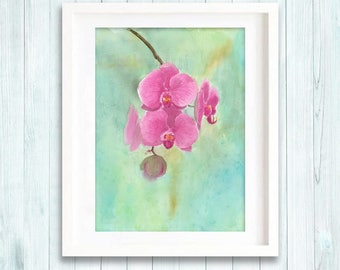 Print of original Orchid watercolour painting, botanical flower painting art print, pink flower illustration giclee print
