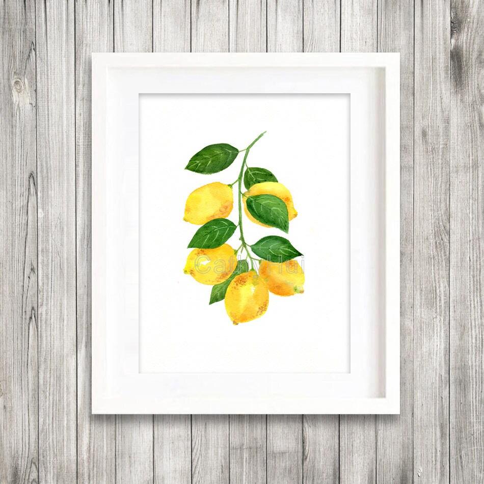 Druck von original Aquarell-Malerei von Zitrone