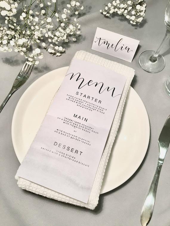 Carte de Menu de mariage / calligraphie personnalisée / Grey / aquarelle / personnalisé / fait à la main (s'il vous plaît lire la description avant l'achat)