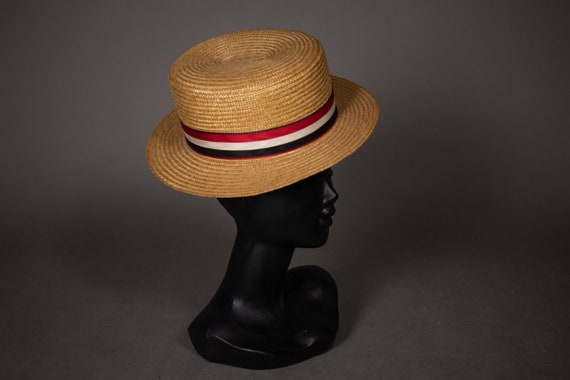 1950's Traditional Swiss Straw Canotier HAt - 50's