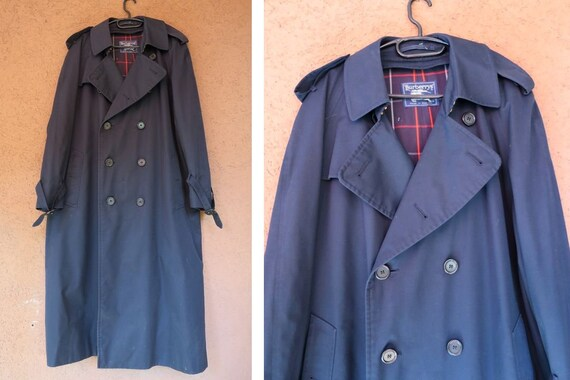 Vintage Foncé Coat Bleu Laine Burberry Trench lFc3TKJ1