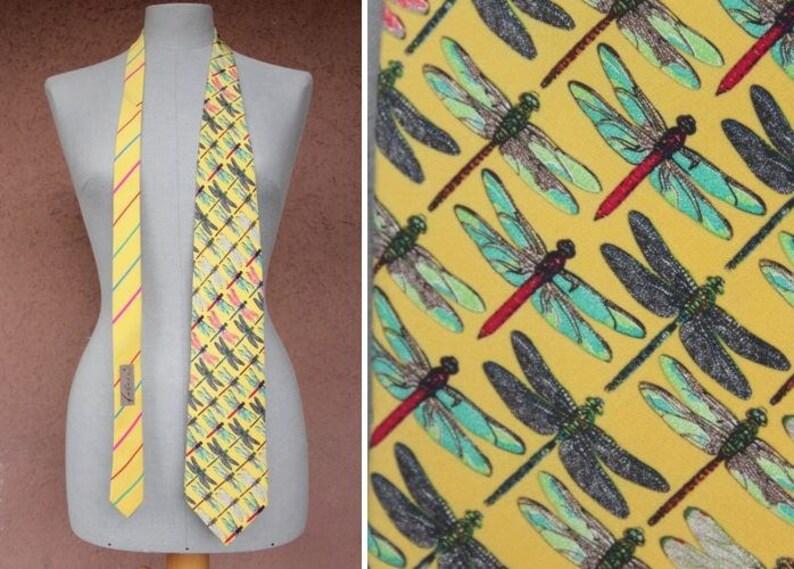 12d2e1155741 FABRIC FRONTLINE ZURICH Swiss brand Dragonfly Silk Tie | Etsy