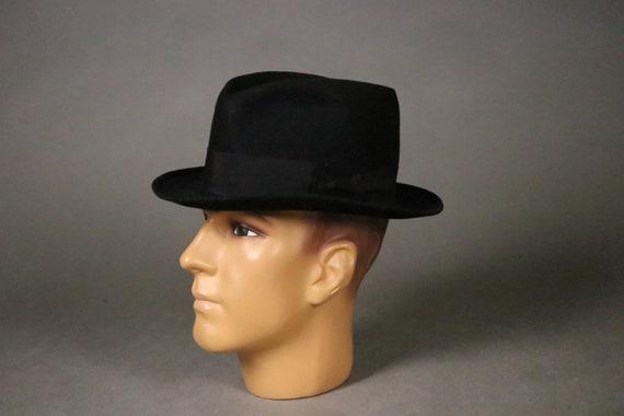 1940's  Black Felt Fedora Hat Th. Baumann Hutmache