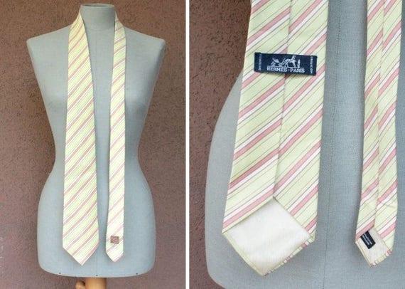 Vintage HERMES Light Yellow Silk Tie - Hermes Stri