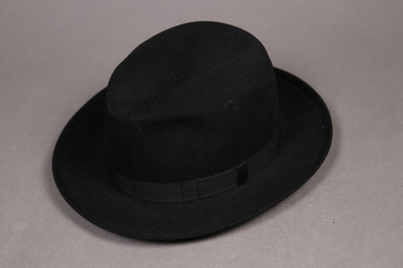 1950's MOLISSANT Black Felt Fedora Hat