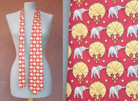 Vintage FENDI Silk Novelty Tie - FENDI Elephant Mo
