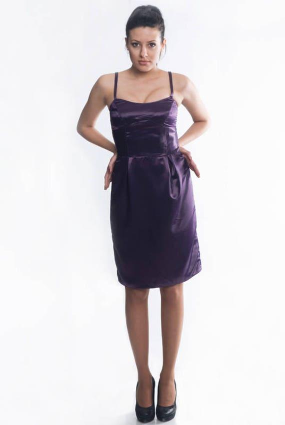 satin abendkleid von yantar kurze satin kleid lila bodenlangen etsy. Black Bedroom Furniture Sets. Home Design Ideas