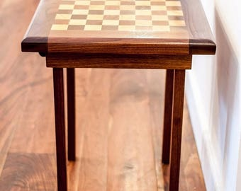 Custom Made Black Walnut / Norway Maple Chess Table! HAND MADE Chess Board