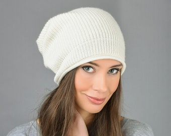343d7d45fc936 100% Pure Cashmere Slouchy Beanie Hat Ribbed Knitted Luxury Super Soft 8  colours - Made in Italy
