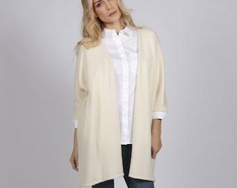 Cream white pure cashmere duster cardigan