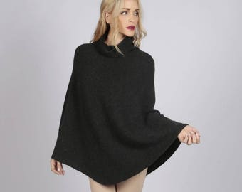 Charcoal Grey pure cashmere roll neck poncho cape