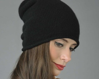 8522469c26491 Pure Cashmere Plain Knitted Slouchy Beanie Hat in Black