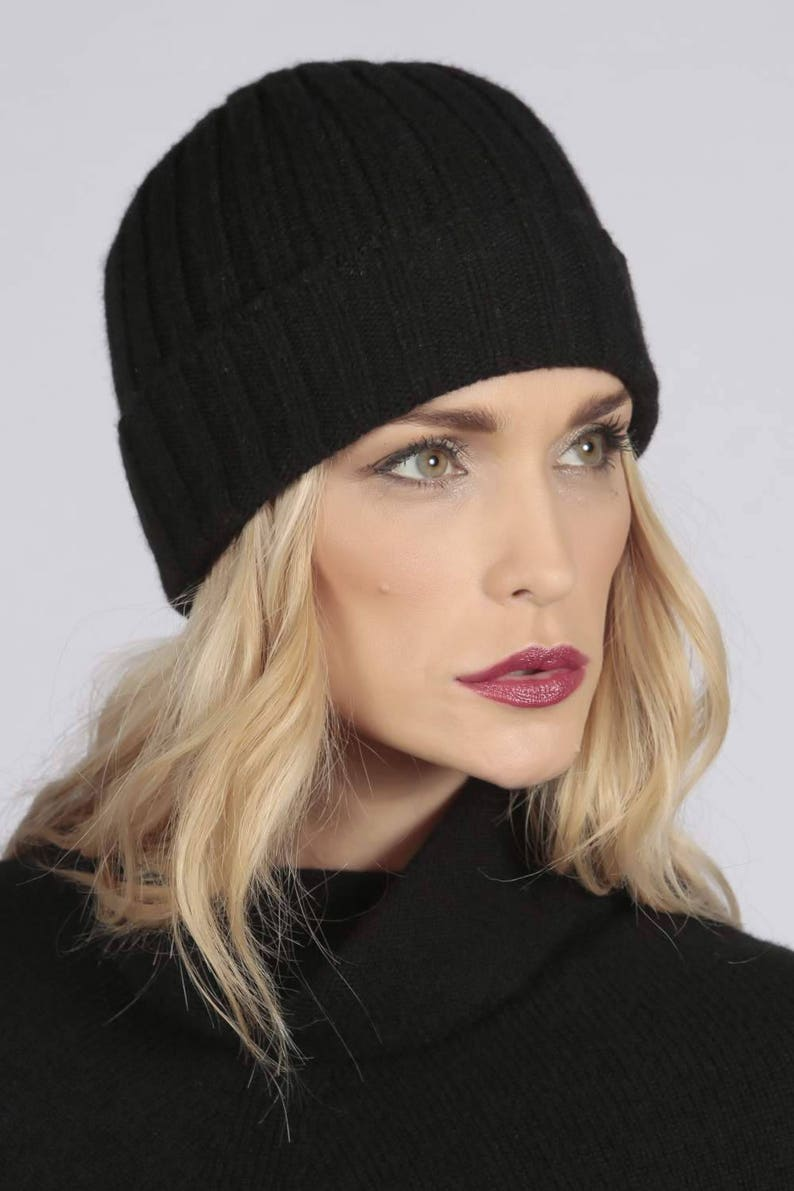 911b681a4fe Black pure cashmere wide ribbed fisherman beanie hat