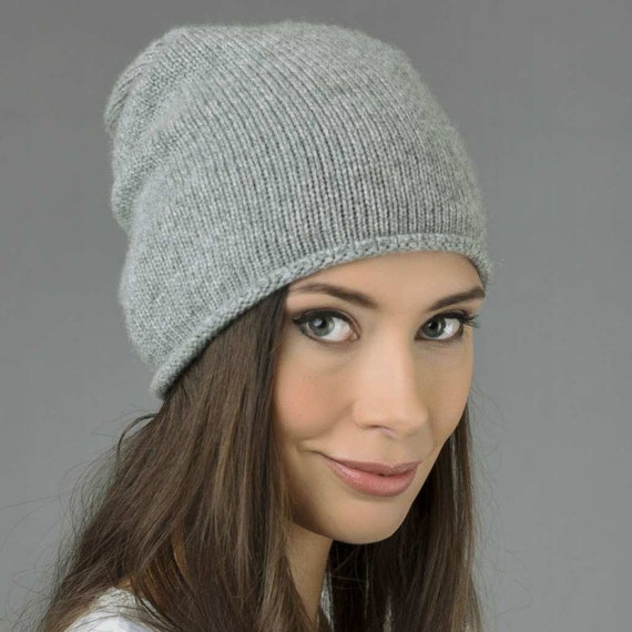 bd411a46c Pure Cashmere Plain Knitted Slouchy Beanie Hat in Light Grey