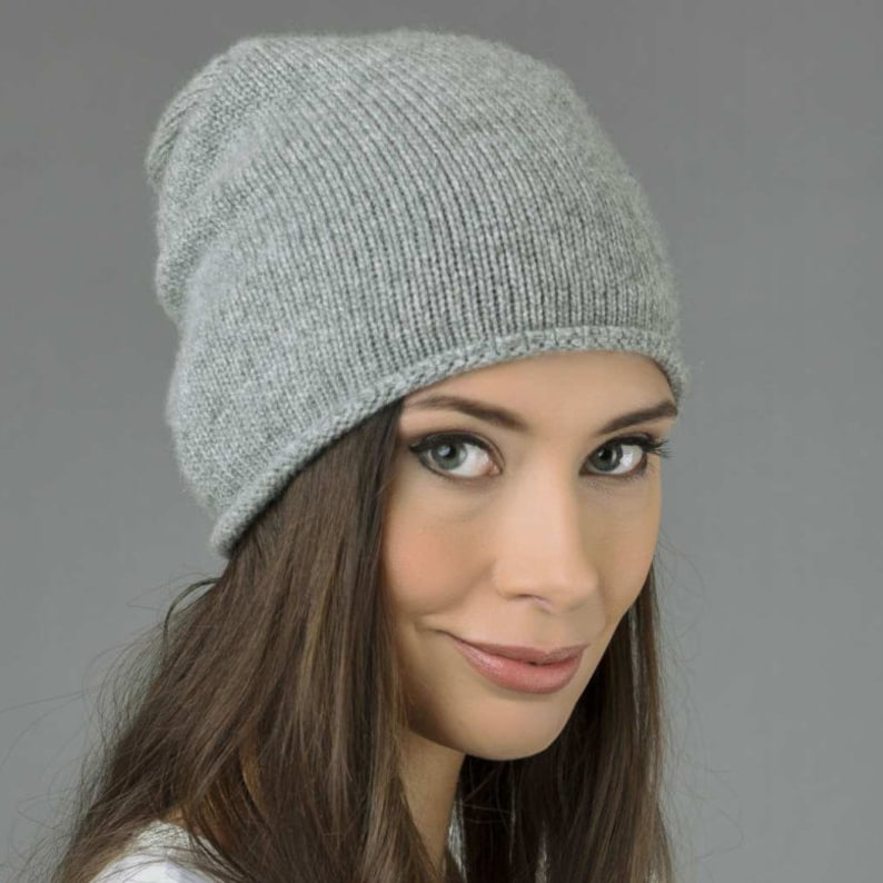 46efff7a9d3c8 Pure Cashmere Plain Knitted Slouchy Beanie Hat in Light Grey