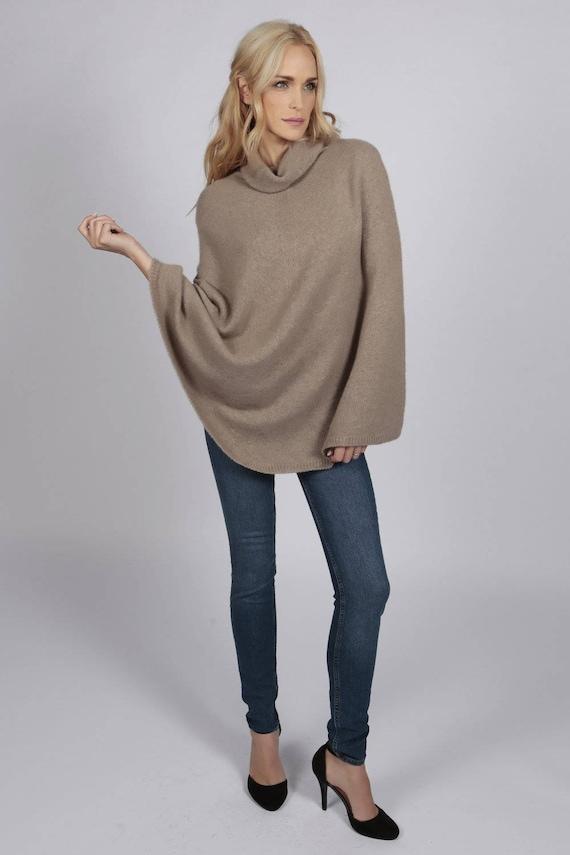 Camel Brown pure cashmere roll neck poncho cape