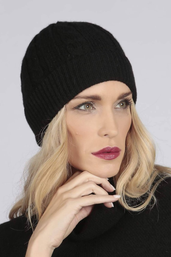 71dcee0ac55 Black pure cashmere beanie hat cable and rib knit