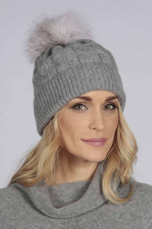 c832d5c7a853 Light Grey cashmere fur pom pom cable knit beanie hat | Etsy