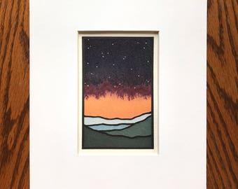 Night sky with stars, orange and maroon bleed