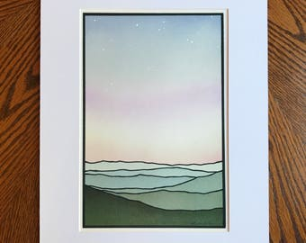 PRINT-- Soft sunset with stars, Green mountains