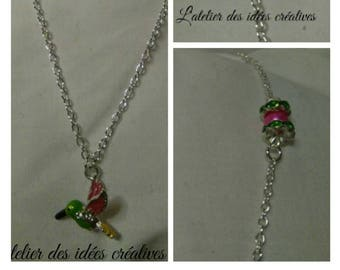 Humming-bird necklace LADIC silvery green and pink