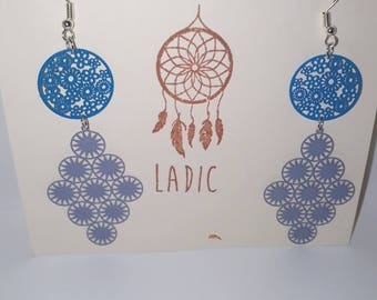Earrings dangling blue Bohemian