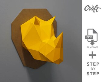 Papercraft etsy craft rhino diy papercraft rhino make your own trophy pdf papercraft wall paper sculpture template pdf handmade altavistaventures Image collections