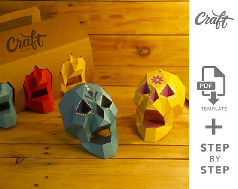 Craft Skull Diy Papercraft Skull Template Pdf 3d Origami Etsy