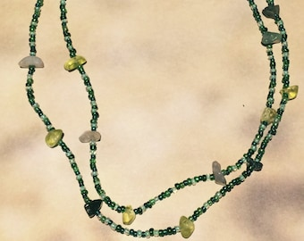 Green Glass and Stone Necklace