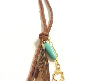 brown suede leather turquoise necklace