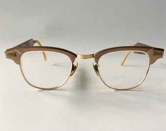 4d0b914bb8 Vintage 1950s Styl-Rite Optical Rose Gold   Yellow Gold   Chrome Aluminum Browline  Eyeglass Frames w 12k GF Bridge