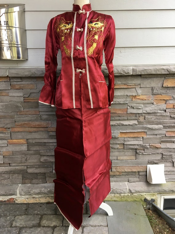 Antique Vintage 1950s Sz M Women's Chinese Satin L