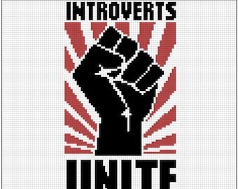 Introverts UNITE / Cross Stitch Kit / Geek / Modern