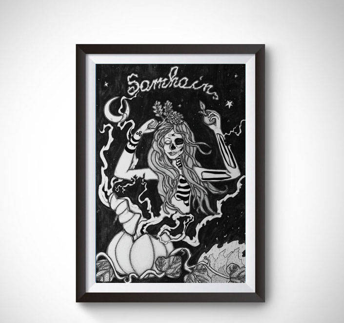 Samhain Art Print _ Symbolic Celtic Pagan Home Fall Decor