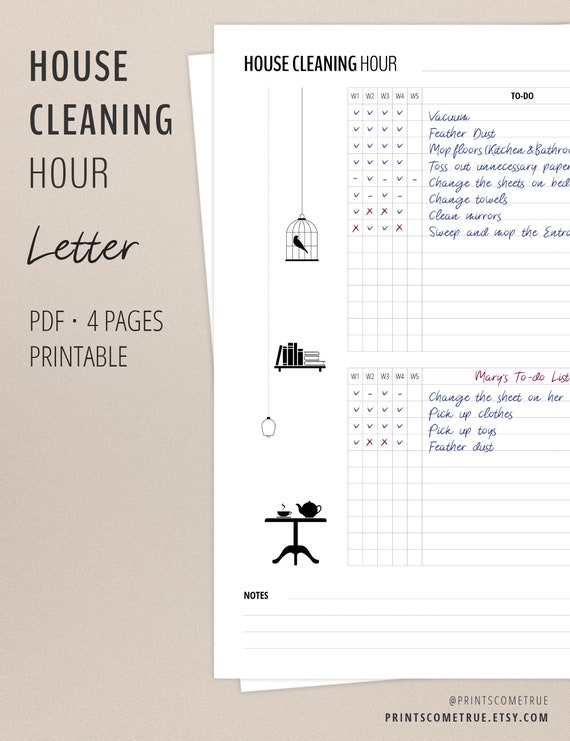 House Cleaning Checklist Printable Flylady Planner Inserts Etsy