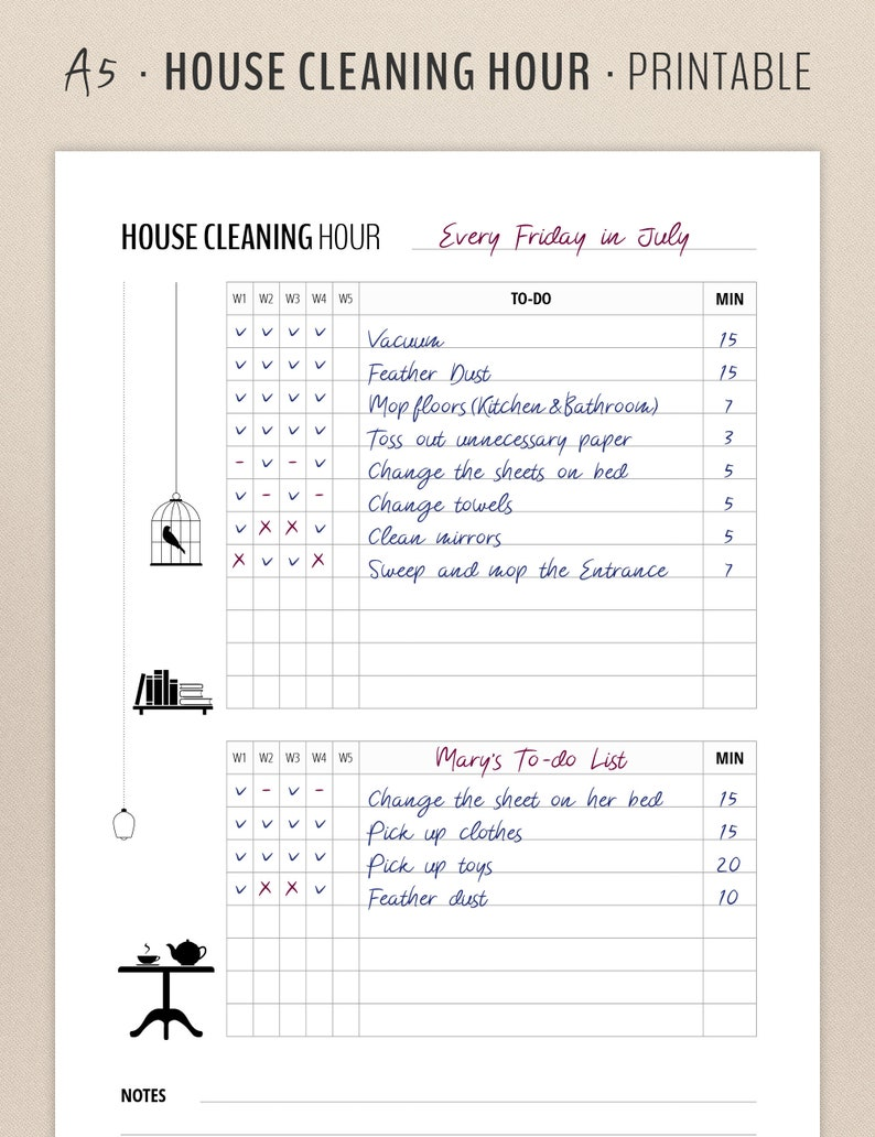 graphic about Cleaning List Printable titled Residence Cleansing List Printable / Flylady / A5 Inserts / Household Manage Planner / Filofax, Weighty Kikki Inserts / Minimalist Contemporary