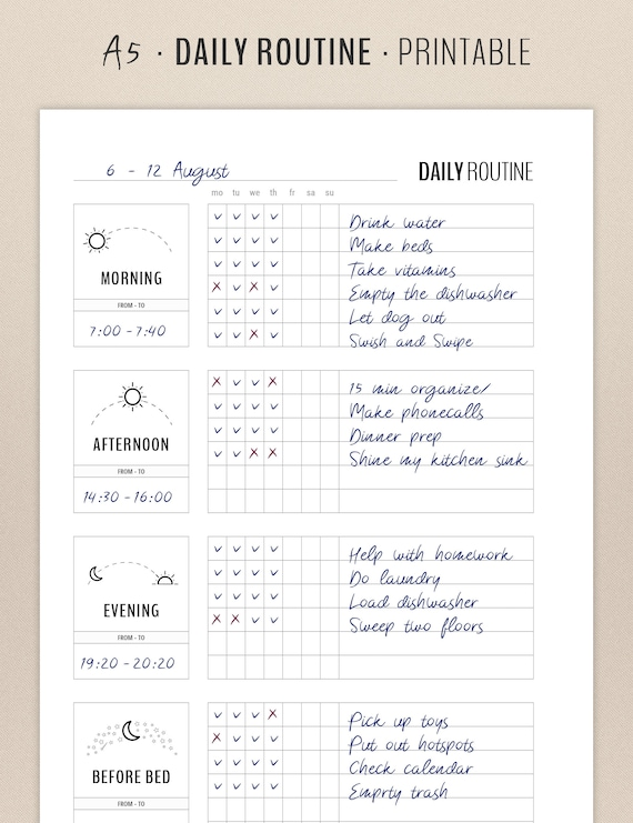 photo regarding Morning Routine Checklist Printable known as Day-to-day Agenda Planner Printable, Flylady Early morning Timetable Record, In advance of Mattress Plan, Residence Control Planner Increase, Loved ones printables