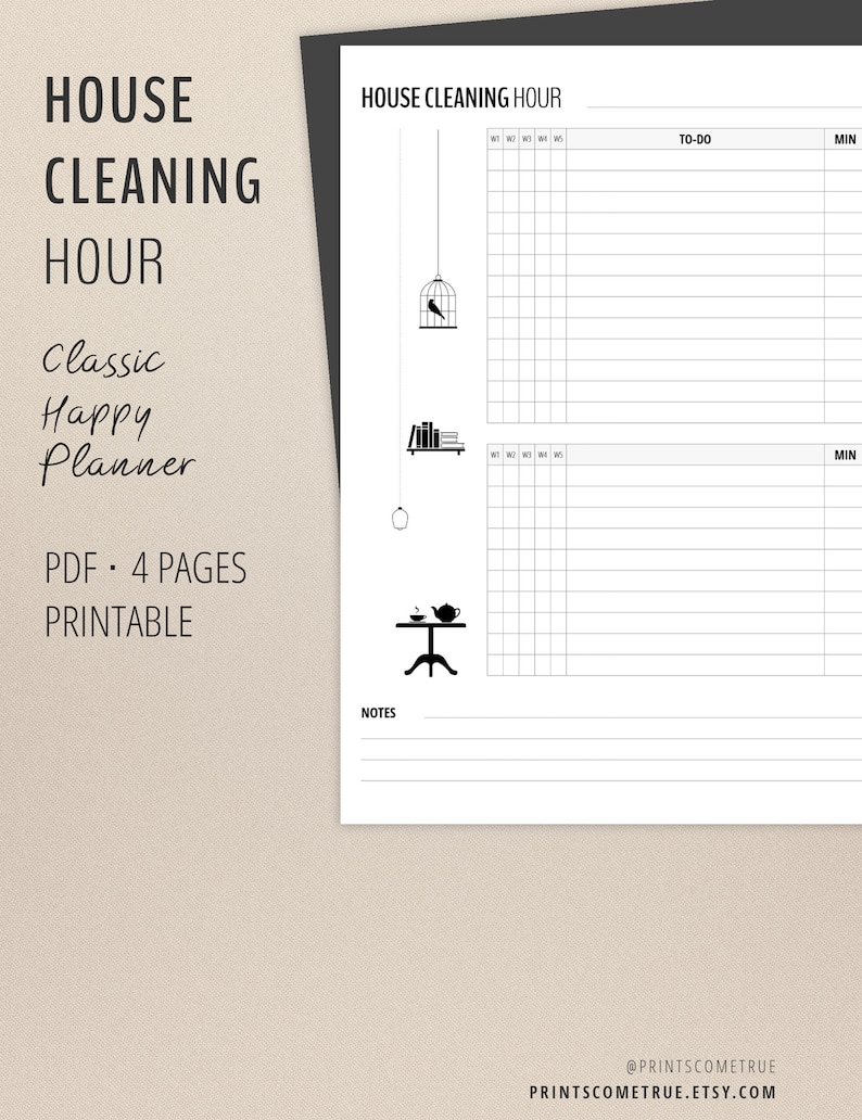 photo regarding Flylady Printable known as Home Cleansing Record Inserts / Flylady Printables / Clic Joyful Planner 7 x 9.25/ Dwelling Command / Minimalist Cleansing Chart