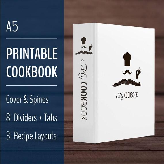 Printable Recipe Book Binder Cookbook Kit A5